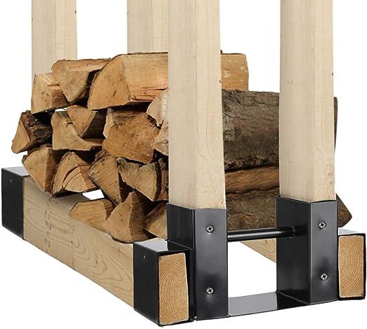 Outdoor//Indoor Firewood Log Rack Bracket Kit Steel Fireplace Wood Storage Holder