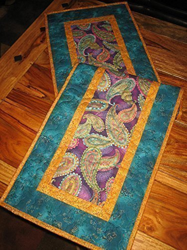 Paisley Blue, Purple, Pink and Gold Quilted Table Runner, Boho 13 x 47