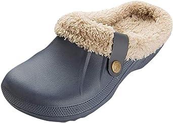 Dorical Zuecos de las Forro cálido mujeres hombres Zuecos zapatos de jardín tobillos Pantuflas Zuecos Hombres Mujer Otoño Invierno Unisex Zuecos Mujer Zapatillas baño Añadir algodón: Amazon.es: Ropa y accesorios
