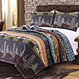 3 Piece Black Bear Brown Moose Quilt King Set, Mountain Jungle Themed, Striped Pattern, Mountains Pine Trees Wildlife Animal Print, Reversible Bedding, Rustic Style, Blue Brown Orange Green