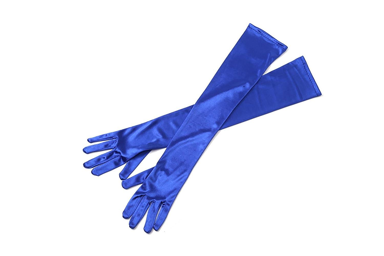 Utopiat Blue Long Satin Elegant Vintage Opera Party Gloves-Seductive Sapphire