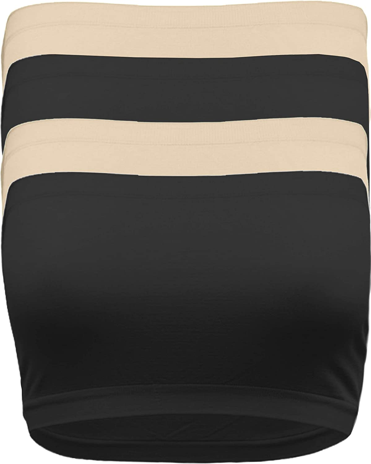 Strapless Bandeau Bra, Seamless Stretchy Crop Tube Top Pack Sets of 4 or Single
