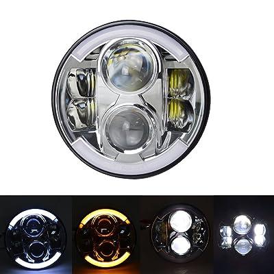 17,8cm inch 60W rond LED Phare avant avec signal Turn DRL Halo pour 1997à partir de 15Jeep Wrangler JK TJ (1paire) avec 2pcs H4-h13fils Harnais + 2pcs Anti-flickers