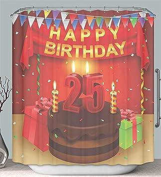 Amazon.com: Cortina de ducha decorativa de 25 cumpleaños ...