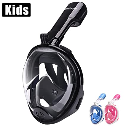 a739cb8db TriMagic Full Face Snorkel Mask for Kids 180° Panoramic Larger Viewing Area Diving  Mask for