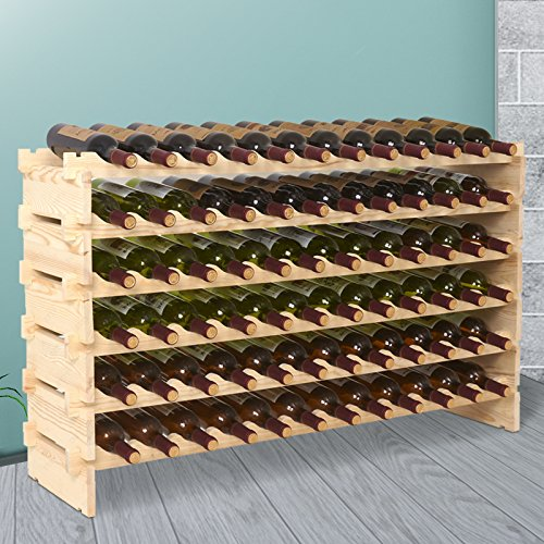 Mecor 72 Bottle Capacity Stackable Storage Wine Rack, Standing Bottles Storage Shelf, ()