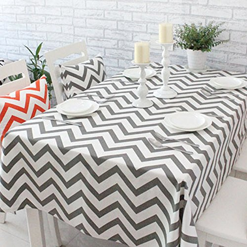Uphome 1pc Classical Chevron Zig Zag Pattern Tablecloth - Cotton Canvas Fabric Table Cover Top Decoration 55W x 72L Grey and White