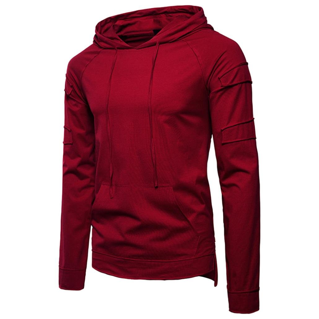 Wintialy Fashion Men's Autumn Pure Color Joint Long Hoodie Sleeved Sweatshirts Top Blouse