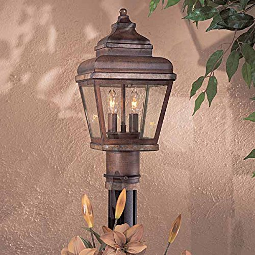 Minka Great Outdoors 8266-161 Mossoro - Two Light Outdoor Post Mount, Mossoro Walnut/Silver Finish with Clear Glass