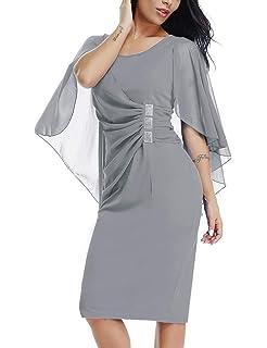 0eb1a08e188 Lalagen Womens Chiffon Plus Size Ruffle Flattering Cape Sleeve Bodycon Party  Pencil Dress S-XXXL