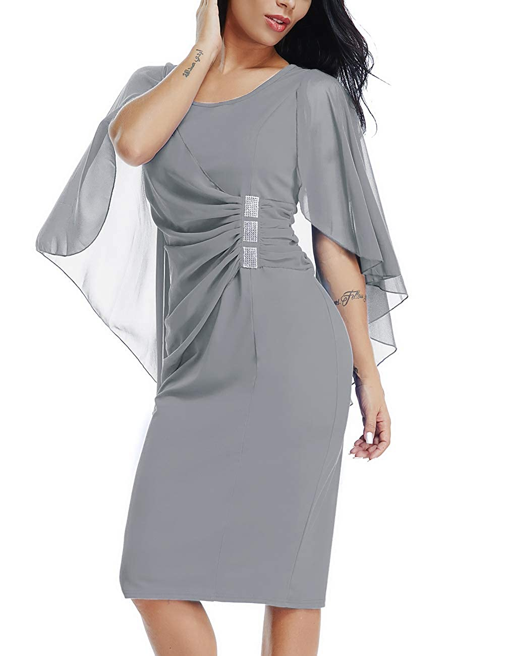 Lalagen Womens Chiffon Plus Size Ruffle Flattering Cape Sleeve Bodycon  Party Pencil Dress Grey L