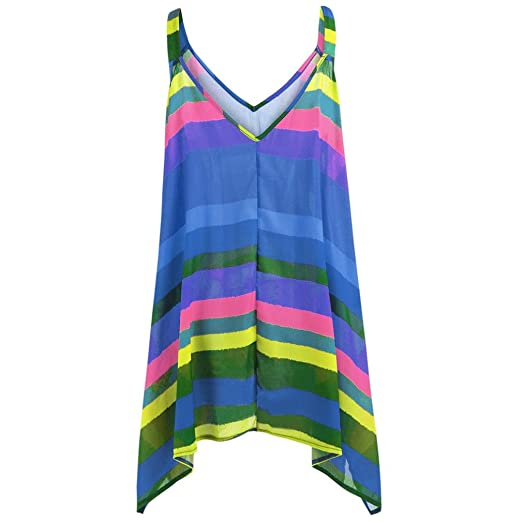 19e4b3c5e2923 YANG-YI Summer Tops, 2018 Women Plus Size Stripe Pullover Sleeveless  Irregular Swing Vest