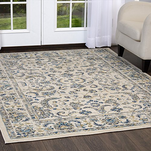 Home Dynamix Vintage Desa Area Rug | Trendy Style, Distressed Finish | Durable Polypropylene Area Rug | Ivory | Fade and Stain Resistant, Easy to Clean, 47