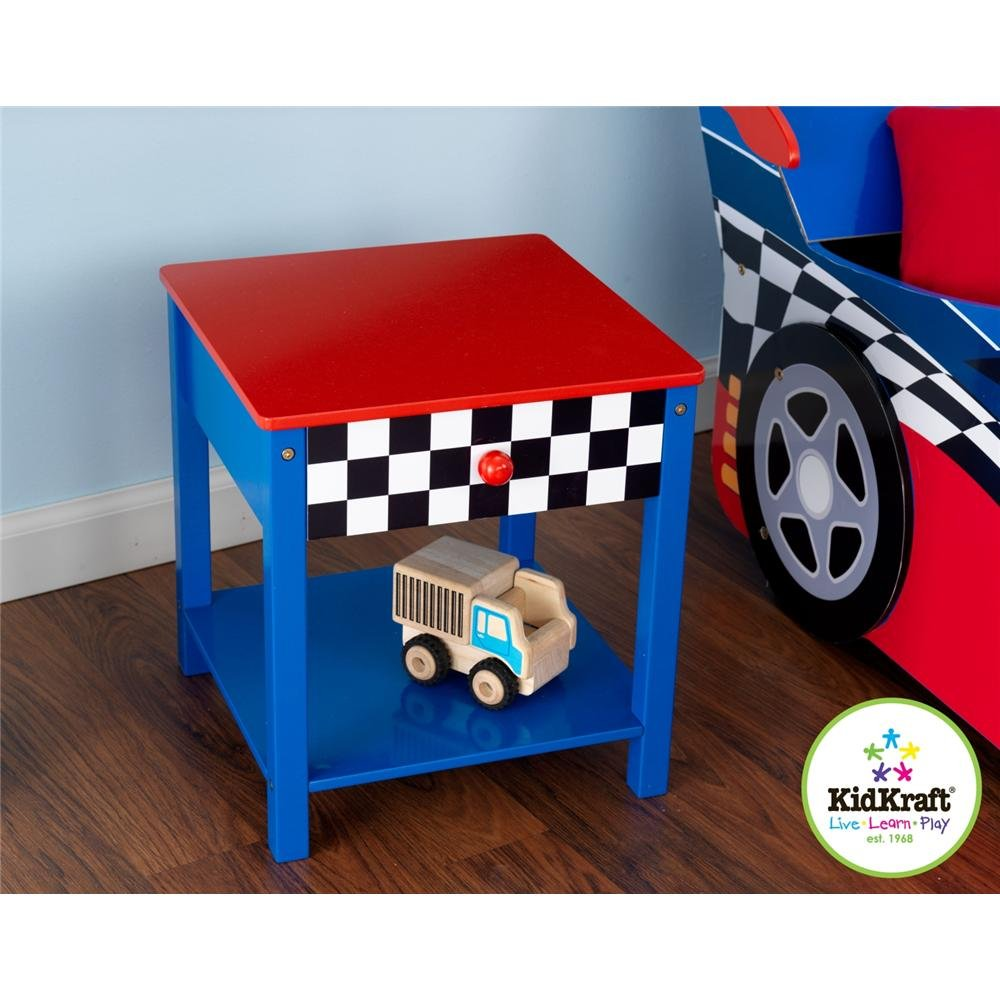 Kidkraft Race Car Side Table For Kids With Storage Drawer
