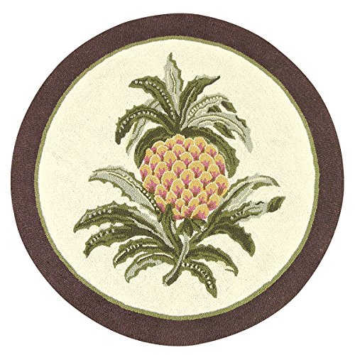 3 Feet Round Hooked Rug, Colonial Welcome Pineapple, Williamsburg