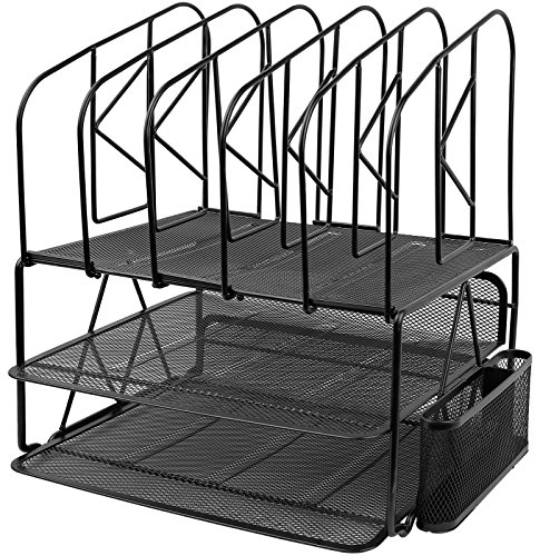 Greenco Mesh 2 Tier Desk File Organizer Shelves with 5 File Sorter Sections, ()