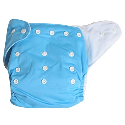 Amazon.com : Adjustable Reusable Washable One Size Baby Cloth Diaper Diapers Nappy 1 Diaper + 2 Inserts Blue by niceEshop : Baby Diaper Covers : Baby