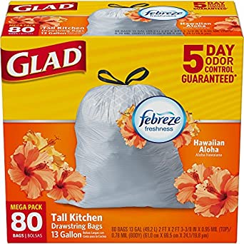 Glad OdorShield Tall Kitchen Drawstring Trash Bags, Hawaiian Aloha, 13 Gallon, 80 Count