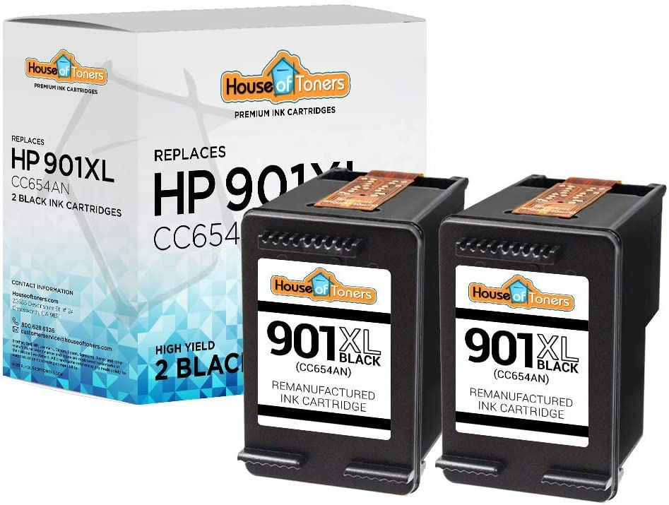 HouseOfToners Remanufactured Ink Cartridge Replacement for HP 901XL CC654AN (2 Black, 2-Pack)