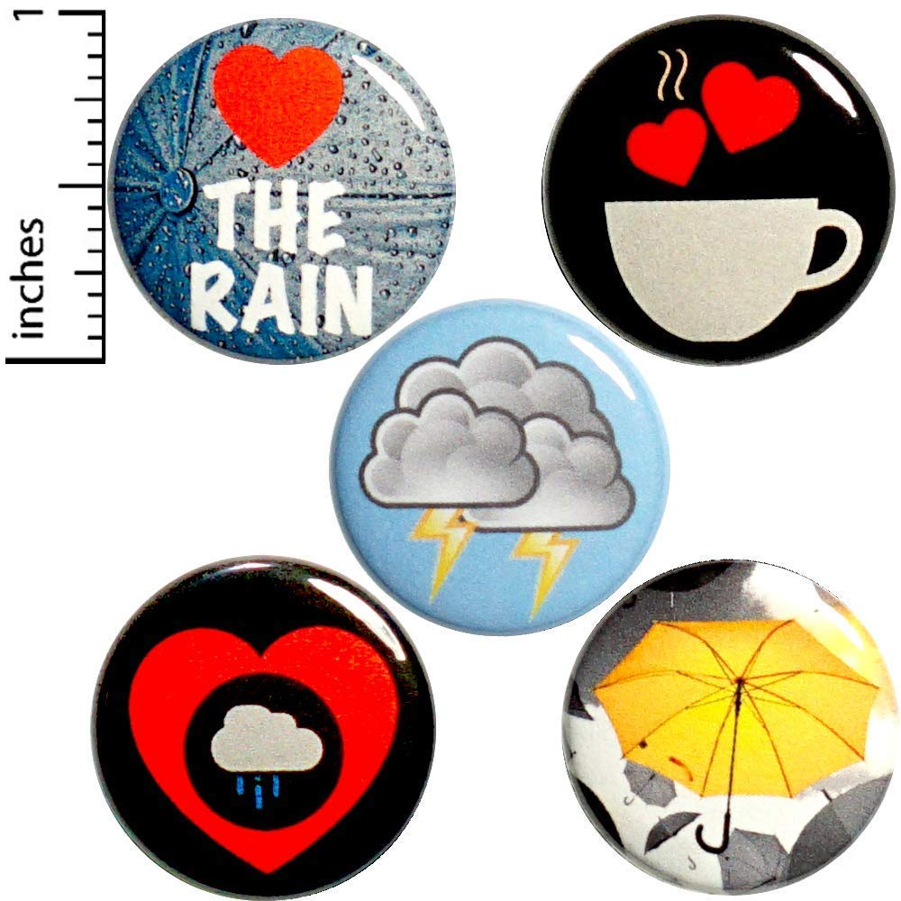 Rainy Day Buttons Pins for Backpacks I Love The Rain Stormy Weather 5 Pack of Lapel Pins 1 Inch P33-3