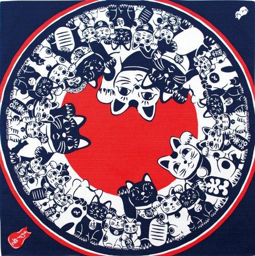 50 x 50 cm 67178 impresi?n de la mano Miyamoto peque?a Furoshiki tentar el gato (jap?n importaci?n)