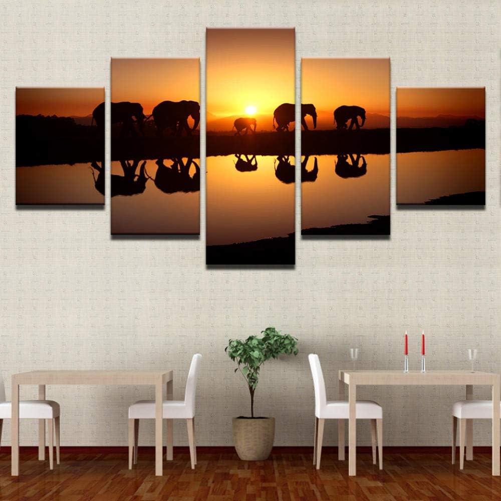 taikenuosi-1 Impression sur Toile intissee,Elephant in The Sunset,Cadeau D/écoratif