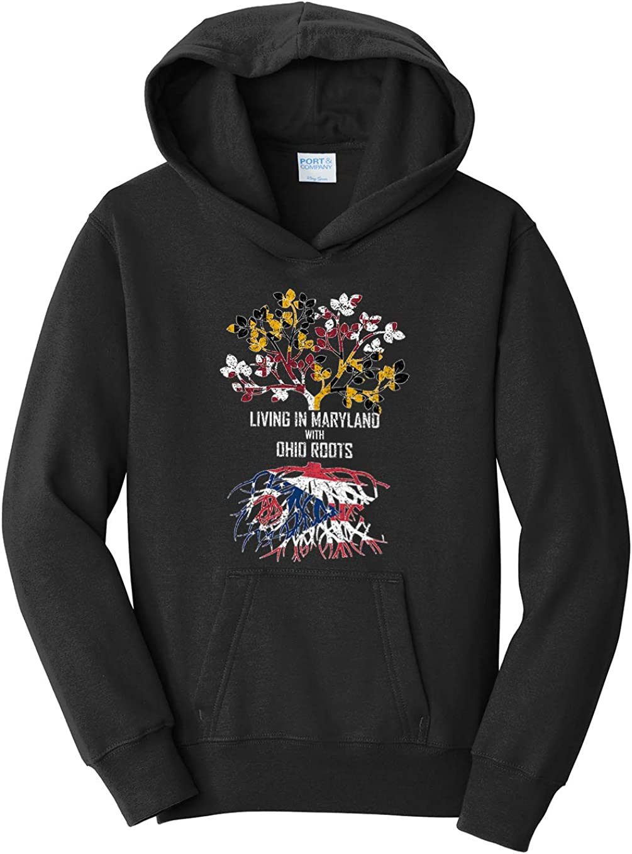 Tenacitee Girls Living in Maryland with Ohio Roots Hooded Sweatshirt