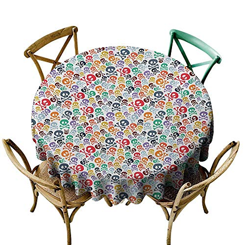 Dustproof Tablecloth Skull Halloween Themed Colorful Skulls and Crossbones Funny Cartoon Style Pattern Print Easy to Clean D59 Multicolor -