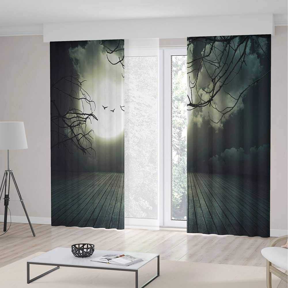 TecBillion Decor Collection,Halloween for Living Room,Wooden Planks Floor with Leafless Branches and Blurred Full Moon Mysterious Decorative,157Wx94L Inches