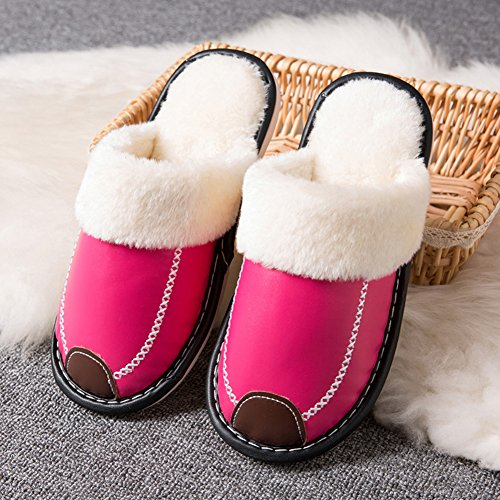 Fur Skid House Anti Indoor HRFEER Lined Slippers Red Fluffy Slipper Memory Faux amp;Outdoor Women's Men Rose Cozy Foam 1qxHwtOxI