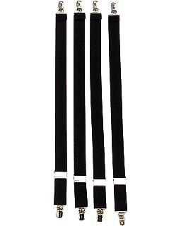 GATOR CLIP Black Military 4pk Shirt Stay Garters
