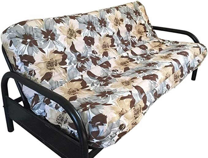 OctoRose Canvas Flower with Bonded Micro Suede Reversible 3 Side Zipper Futon Slipcover Full Size 54x75+8