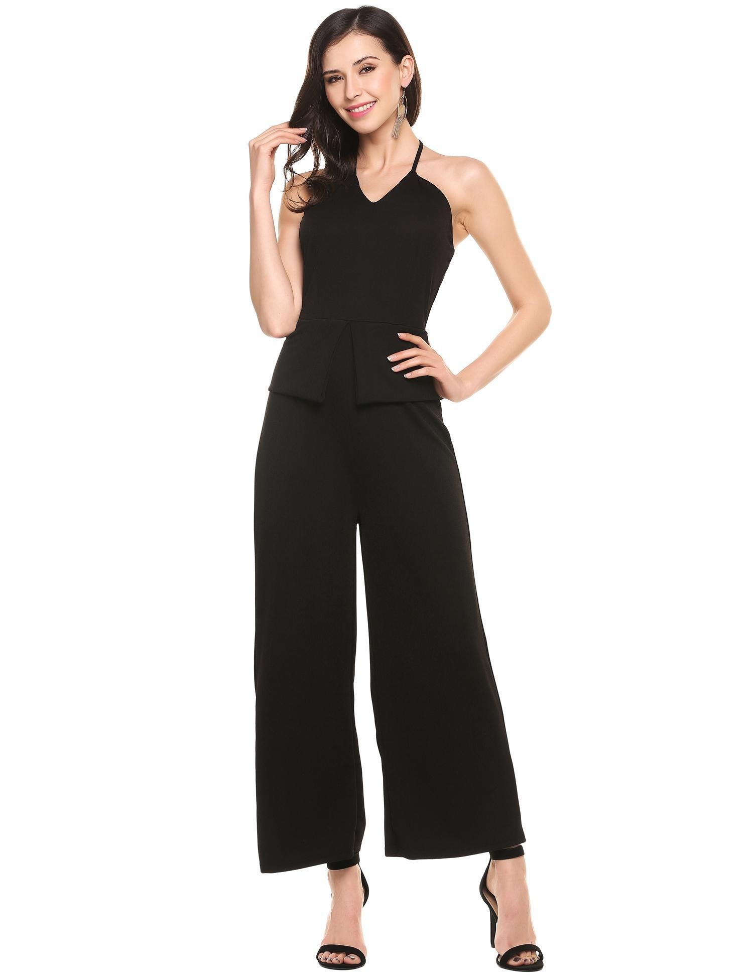 ANGVNS Women's Sleeveless V Neck Long Loose Jumpsuits Rompers Overall Wide Leg Pants