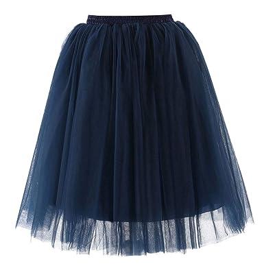 XNBZW Falda de ballet corto vintage para mujer azul marino azul ...