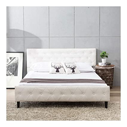 5d7b3ac8fe Amazon.com: Full Size White PU Leather Button Tufted Upholstered ...
