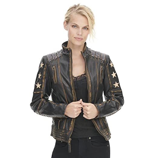 Black Rivet Womens Distressed Stars And Stripes Center Zip Leather