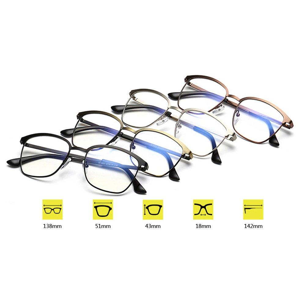 Delaying Métallique plein cadre structure vintage anti lumière bleue claire lentille lunettes Une variété de verres carrés de couleurs eCighBXJ