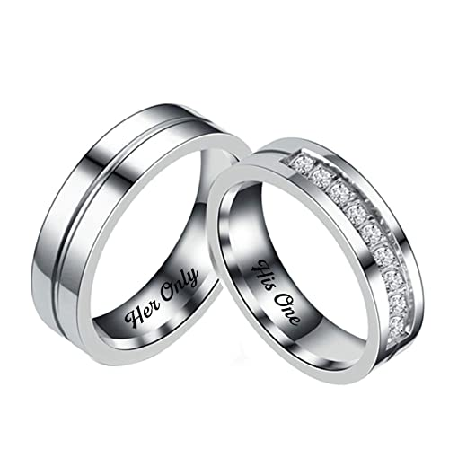 Beydodo Anillos Acero Inoxidable Mujer Finos His Only Her ...