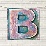 smallbeefly Letter B Hand Towel Old Fashioned Print Method Wood Block Alphabet ABC Type Worn Capital B Quick-Dry Towels Teal Ivory Dark Coral Size: W 20'' x L 24''