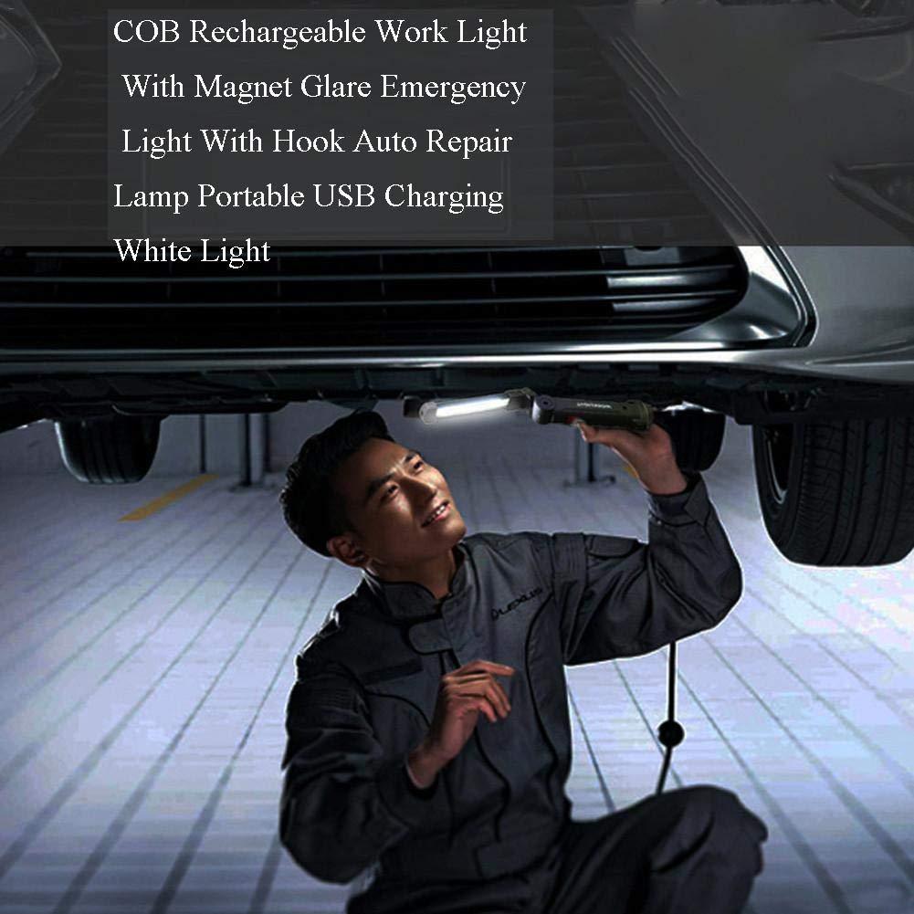 poetryer Auto Torcia da Lavoro a LED Ricaricabile 2 in 1 COB da Lavoro Lampada di ispezione con Magnete per Emergenza Officina