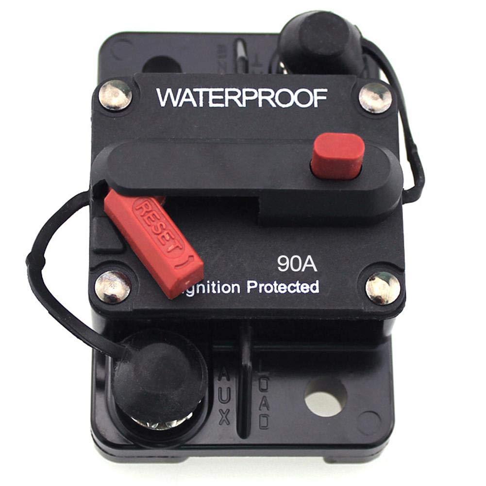 48V DC Kinbelle Marine Circuit Breaker 110Amp for Boat Trolling with Manual Reset,Water Proof,12V