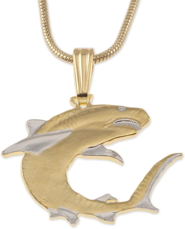 Shark Pendant & Necklace, Solomon Islands 100 Dollar Coin Hand Cut