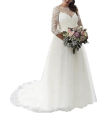 Beauty Bridal Women\'s Lace Applique Bride Gown with Three Quarter ...