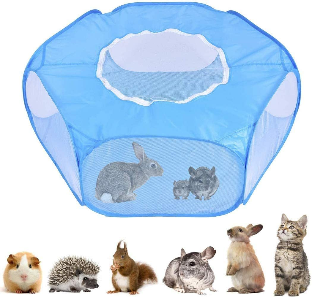 Petneer Small Animals Playpen,Breathable & Transparent Small Pet Cage Tent with Zippered Cover, Portable Outdoor Enclosure for Cats/Dogs/Guinea Pigs/Rabbits/Hamsters/Hedgehogs/Chinchillas
