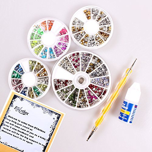 Ladies Beauty Box 4 Mixed Shapes 3D Design Nail Art Different Metallic Studs Wheel Manicure With One Nail Glue & One 2 Way Marbleizing Dotting Pen by BTArtbox