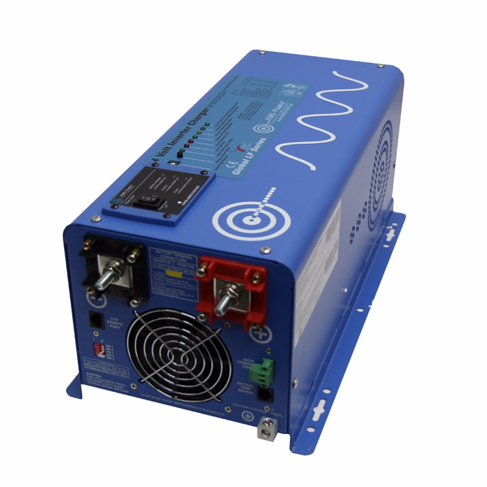 AIMS Power PICOGLF20W24V120VR Pure Sine Inverter Charger, 2000 Watts Continuous Power Output, 6000 Watts Surge Rating, 24V, Battery Priority Selector, Auto Frequency, Four Stage Smart Charger