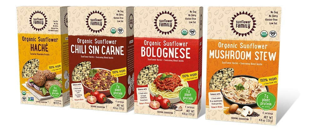 SunflowerFamily Variety Pack - Certified USDA Organic Meat Substitute From Textured Sunflower Protein - Soy, Dairy & Gluten Free