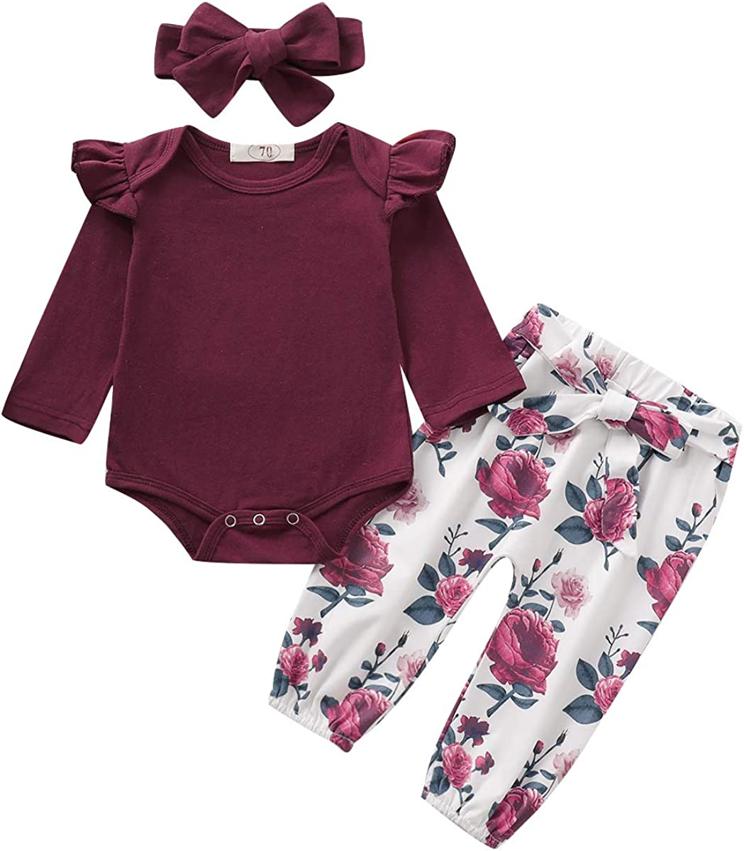 Newborn Baby Girl Clothes Toddler Girl Outfits Ruffle Long Sleeve Tops Pants with Hats and Headband Fall Summer Clothes Sets