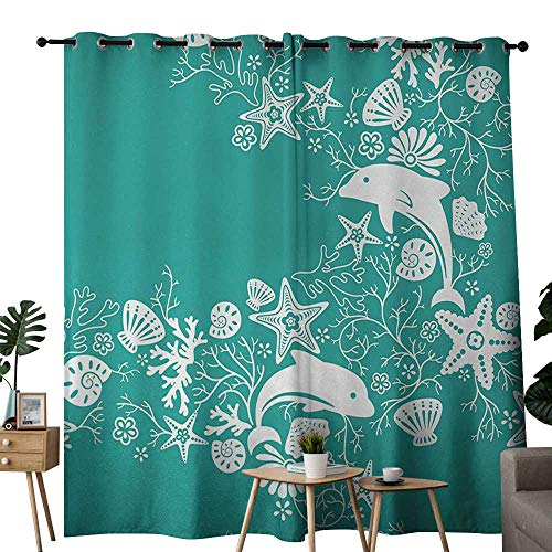NUOMANAN Curtains for Bedroom Sea Animals,Dolphins Flowers Sea Life Floral Pattern Starfish Coral Seashell Wallpaper,Sea Green White Curtain Panels for Bedroom & Kitchen,1 Pair52 x72