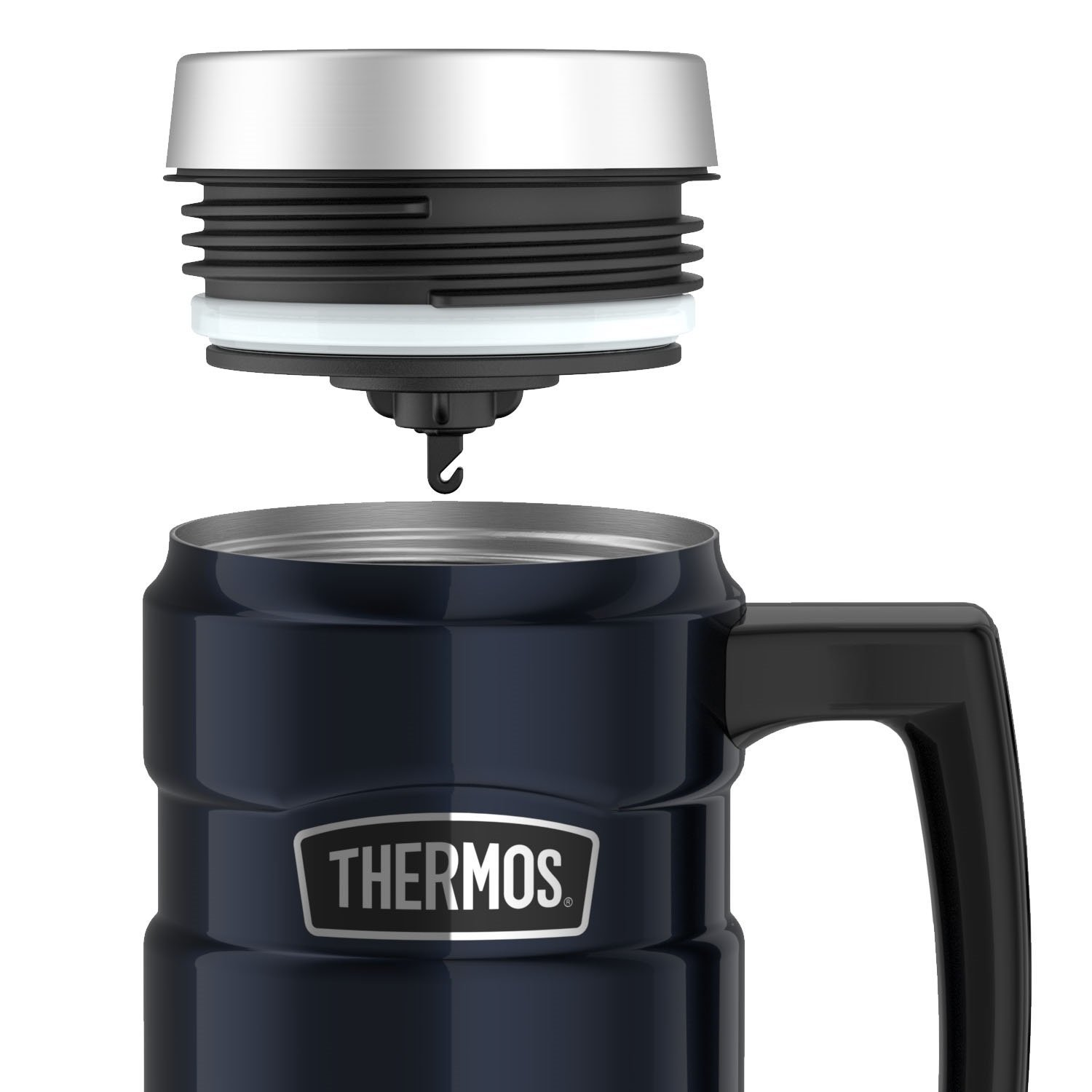 Thermos Stainless King 16 Ounce Travel Mug with Handle, Midnight Blue by Thermos (Image #6)
